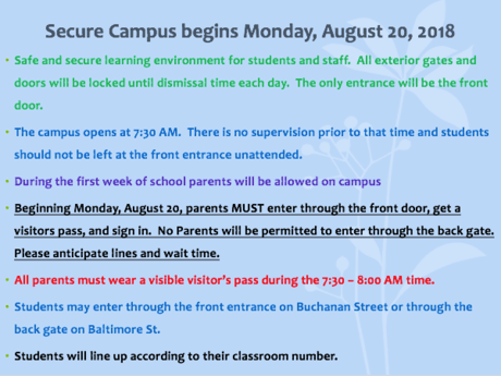 Secure Campus Information for the 2018-2019 School Year